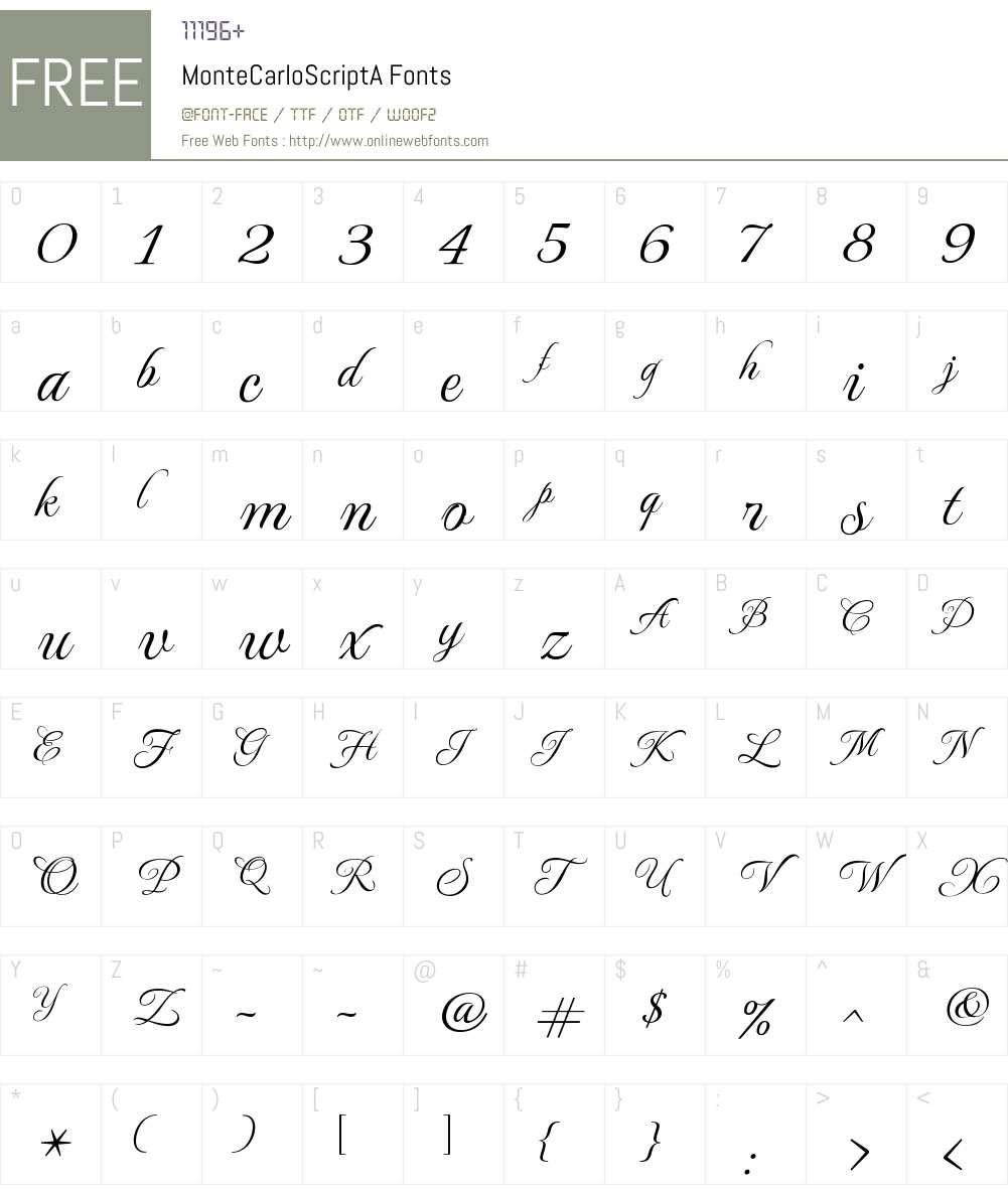 MonteCarlo Script A Font Screenshots
