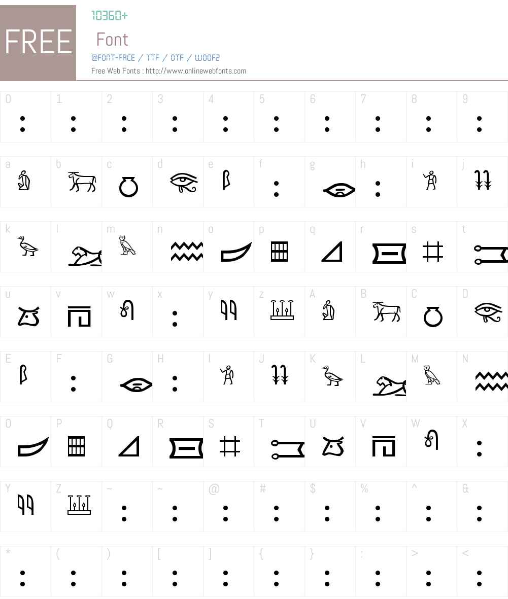 Meroitic - Hieroglyphics Font Screenshots