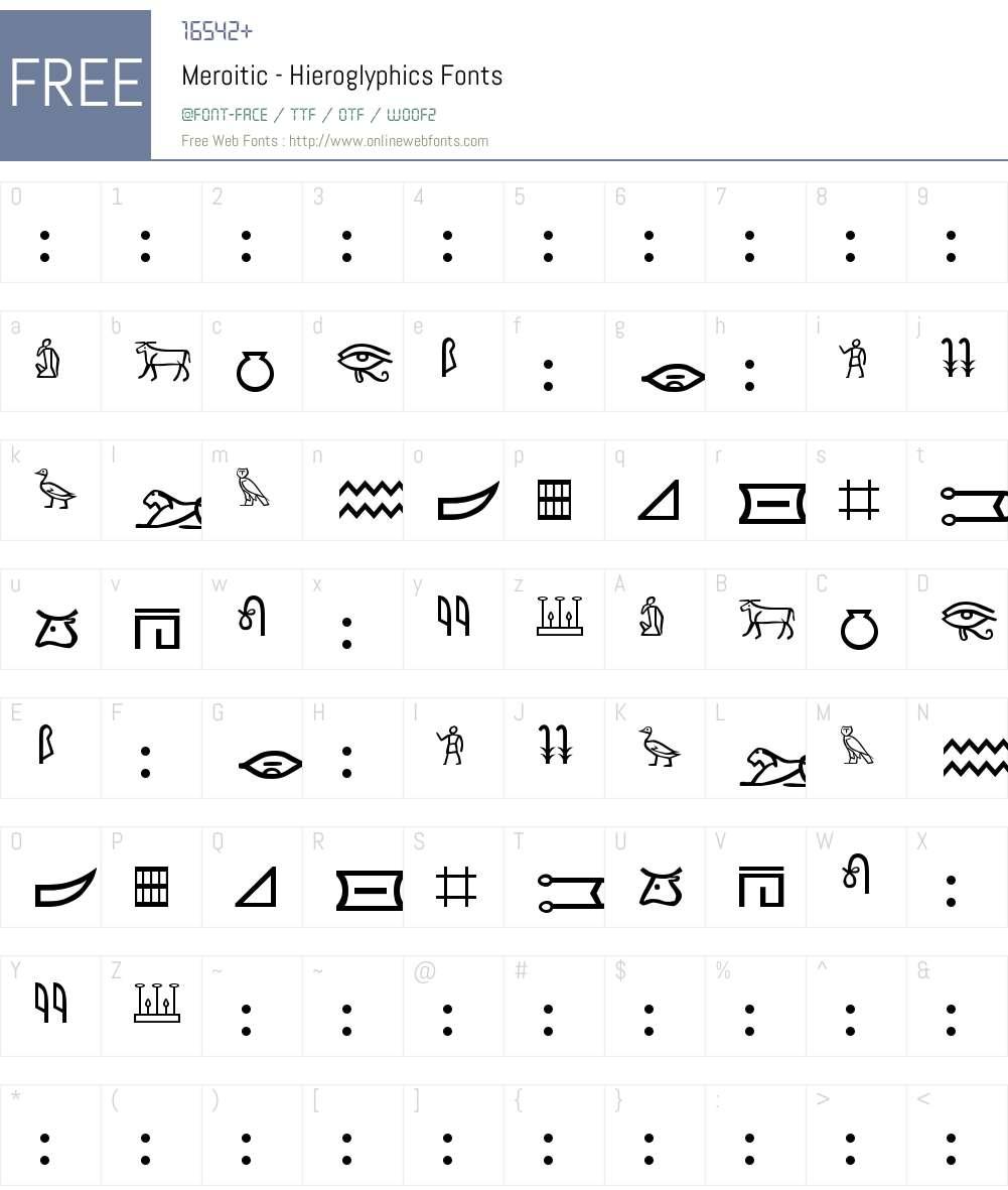 Meroitic - Hieroglyphics Font Screenshots