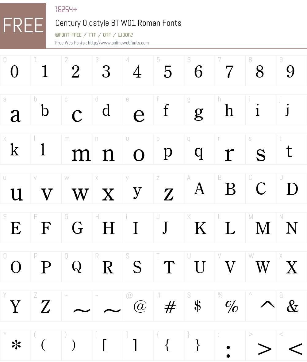 CenturyOldstyleBTW01-Roman Font Screenshots
