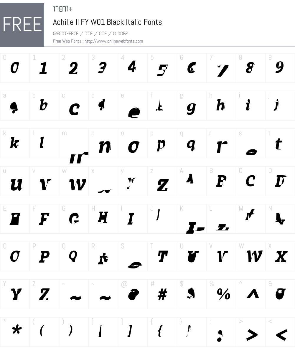 AchilleIIFYW01-BlackItalic Font Screenshots