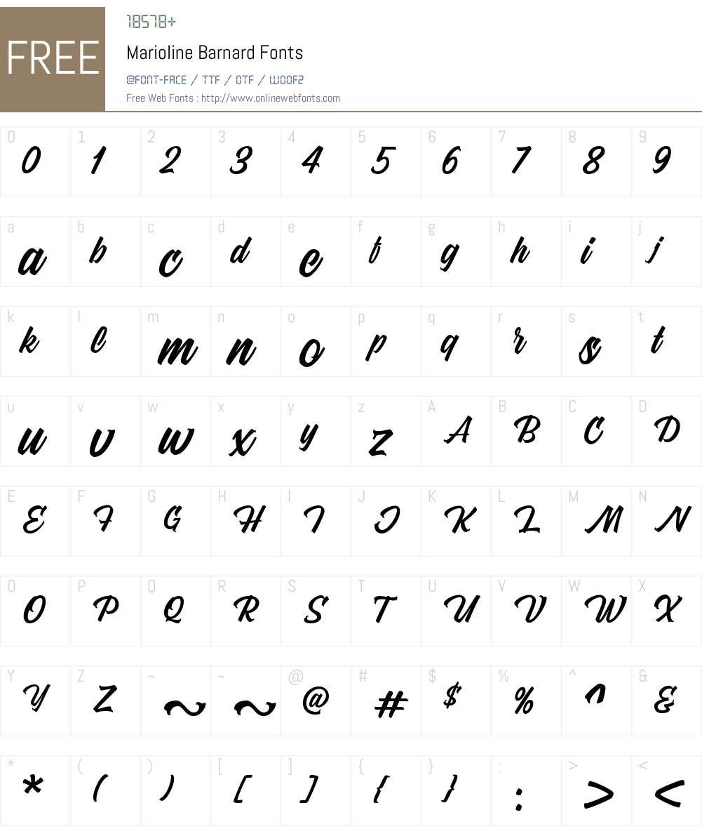 Marioline Barnard Font Screenshots