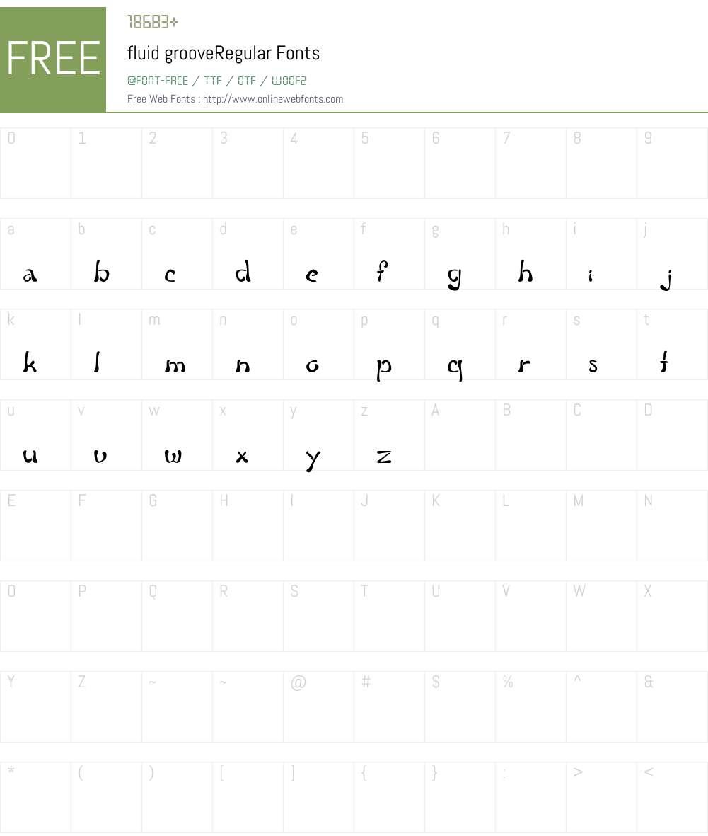 fluid groove Font Screenshots