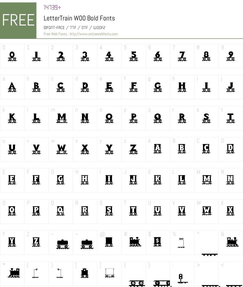 LetterTrainW00-Bold Font Screenshots