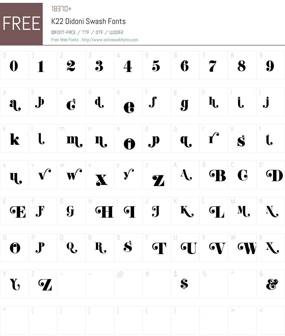 K22 Didoni Swash Font Screenshots