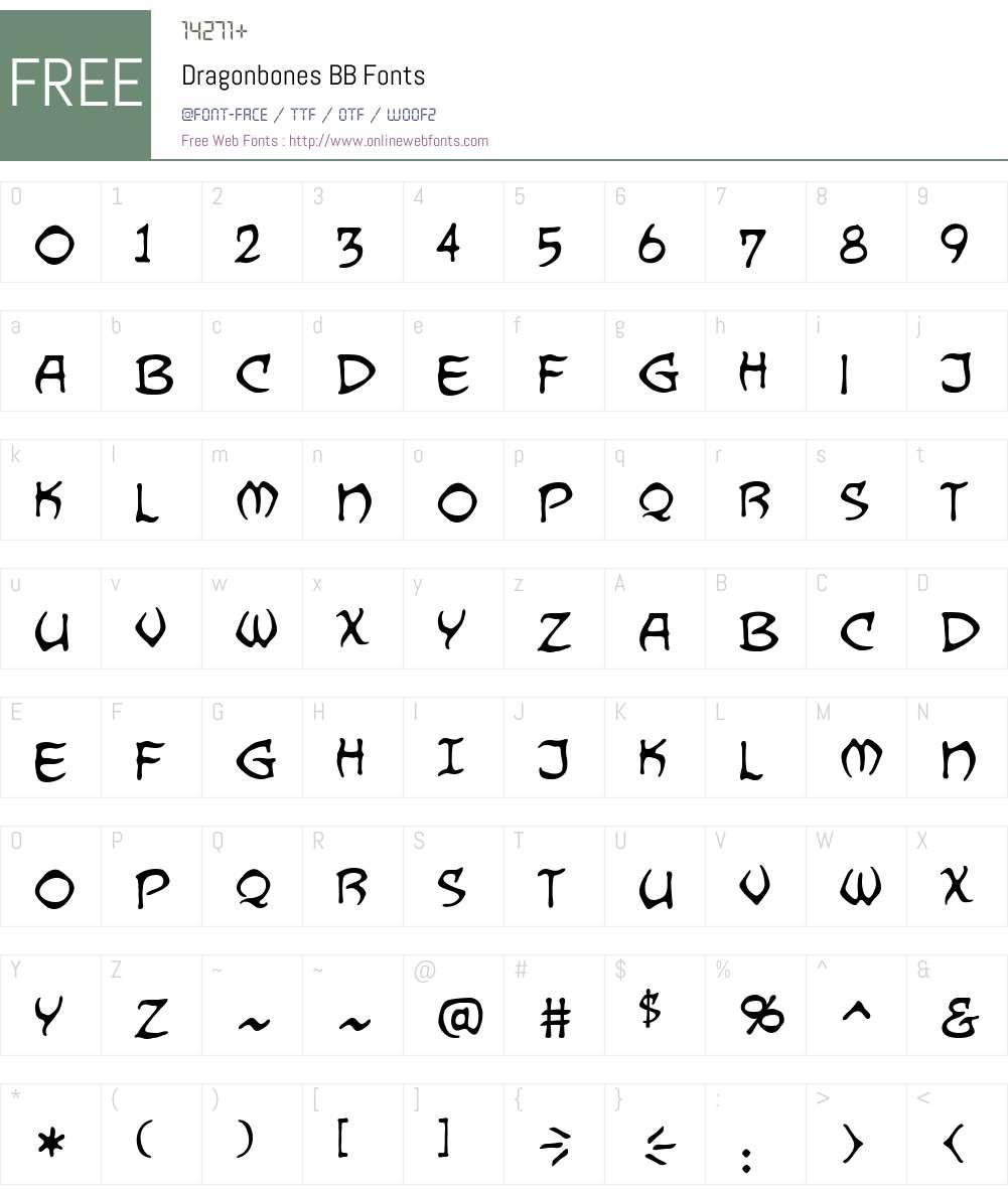 Dragonbones BB Font Screenshots
