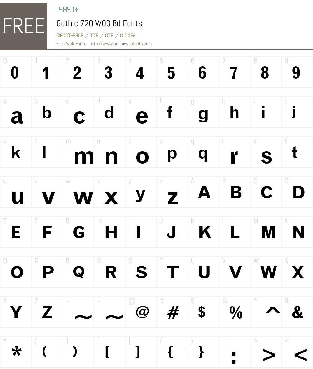 Gothic 720 Font Screenshots