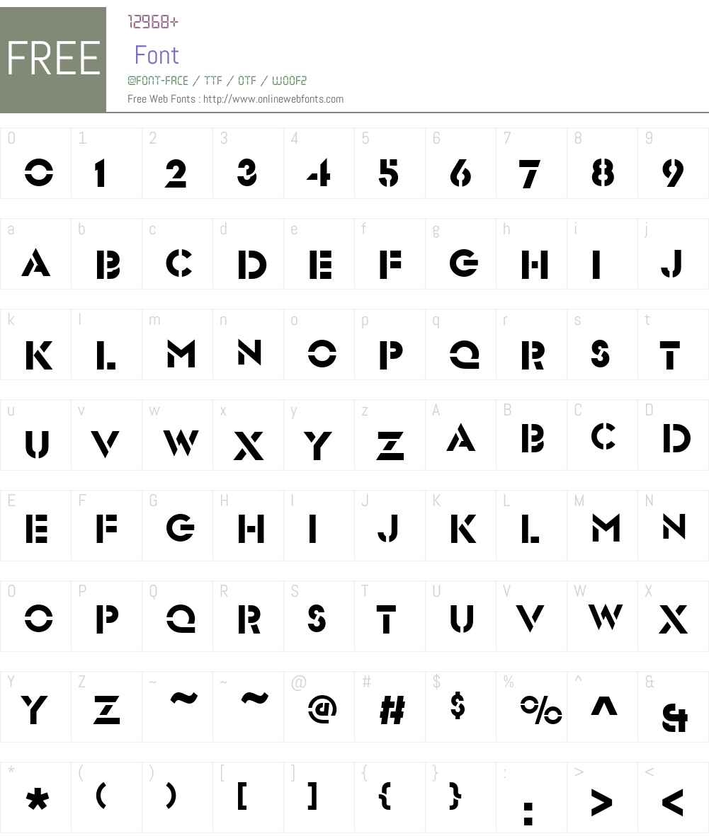 GlaserSteSCD Font Screenshots