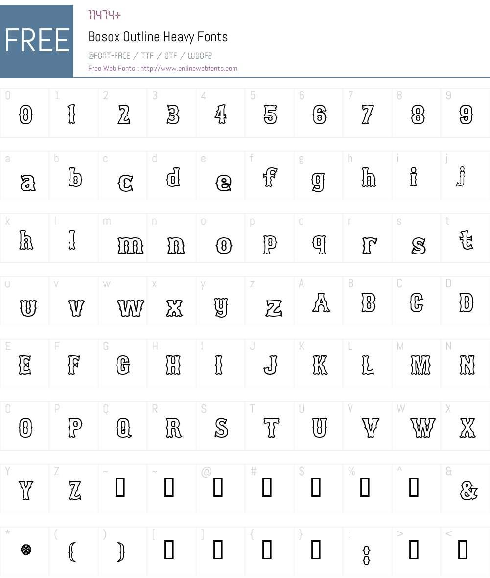 Bosox Outline Font Screenshots