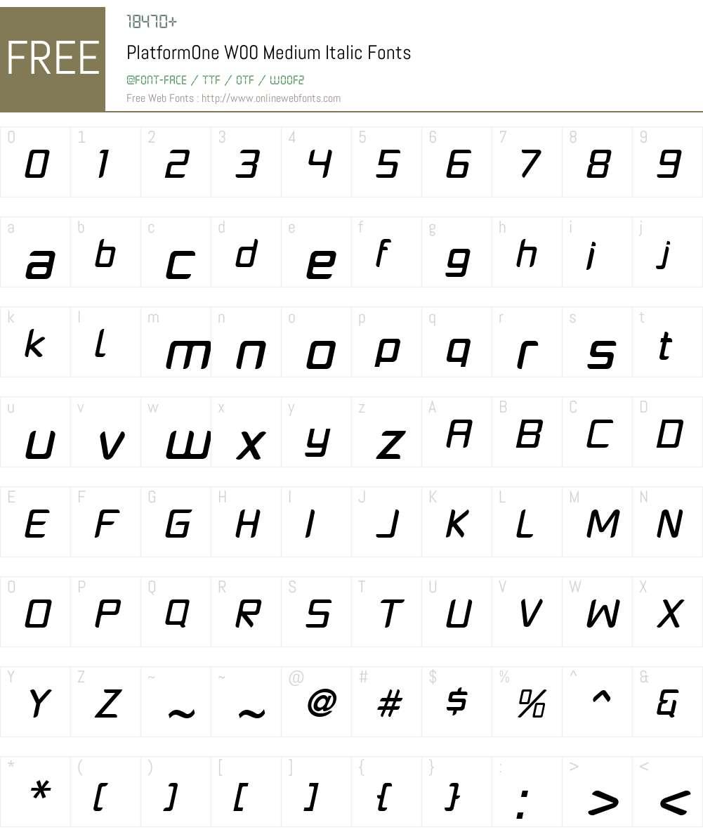 PlatformOneW00-MediumItalic Font Screenshots