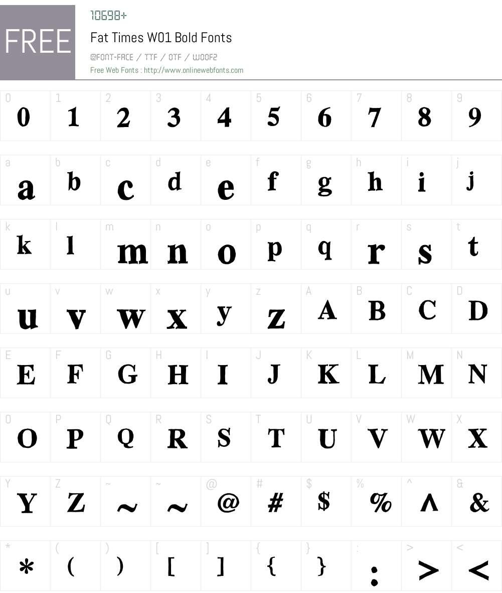 FatTimesW01-Bold Font Screenshots