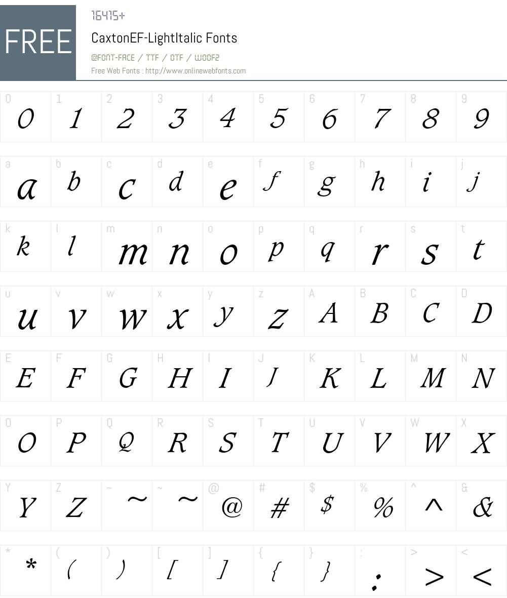 CaxtonEF Font Screenshots
