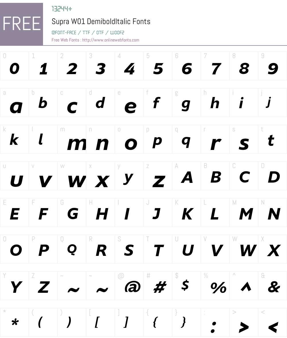 SupraW01-DemiboldItalic Font Screenshots