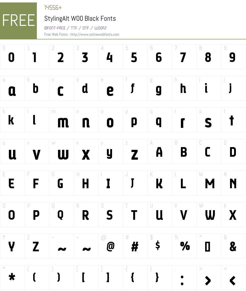 StylingAltW00-Black Font Screenshots