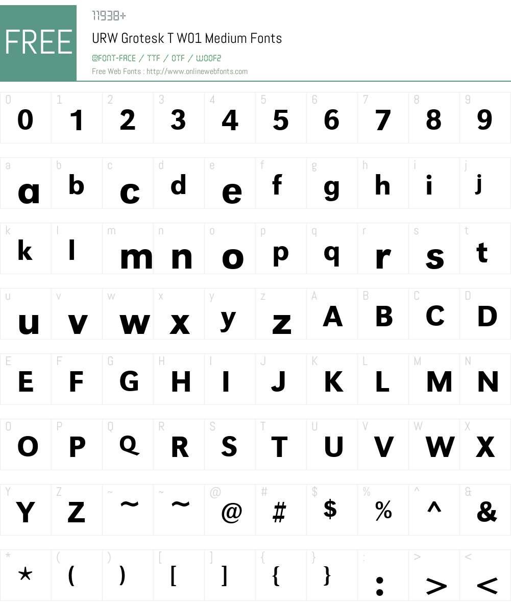 URWGroteskTW01-Medium Font Screenshots