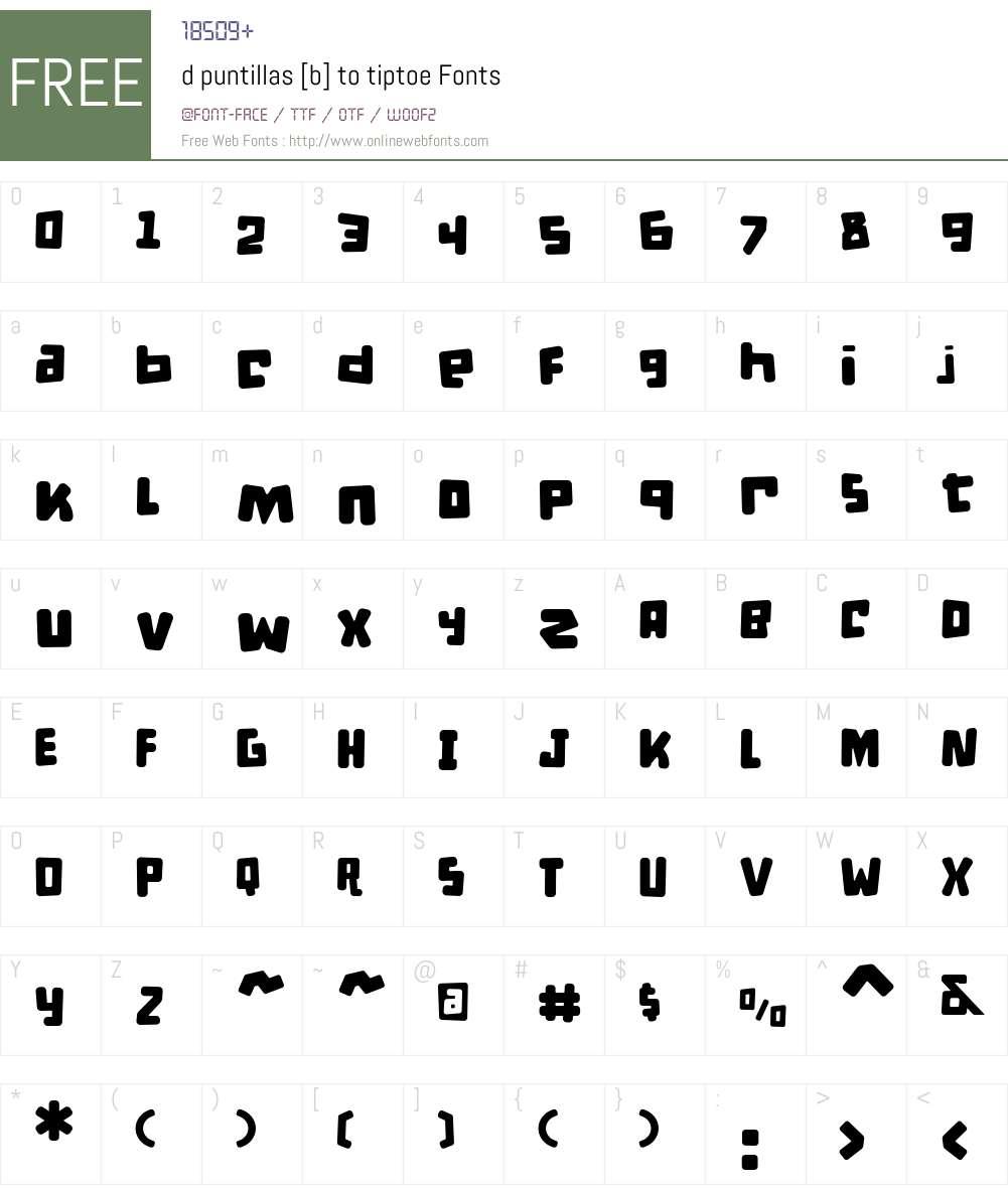 d puntillas B to tiptoe Font Screenshots