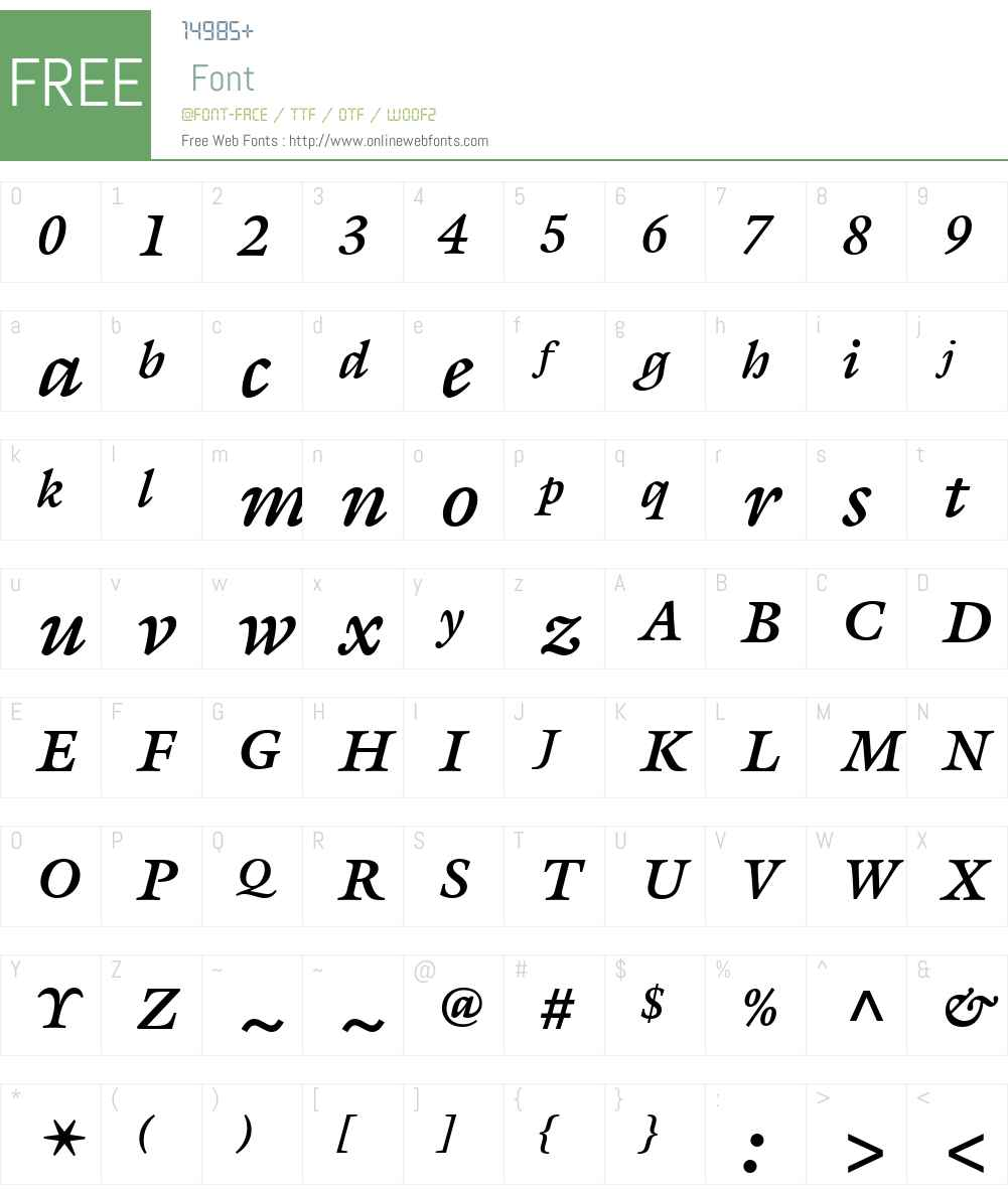 ITC Galliard eText Font Screenshots