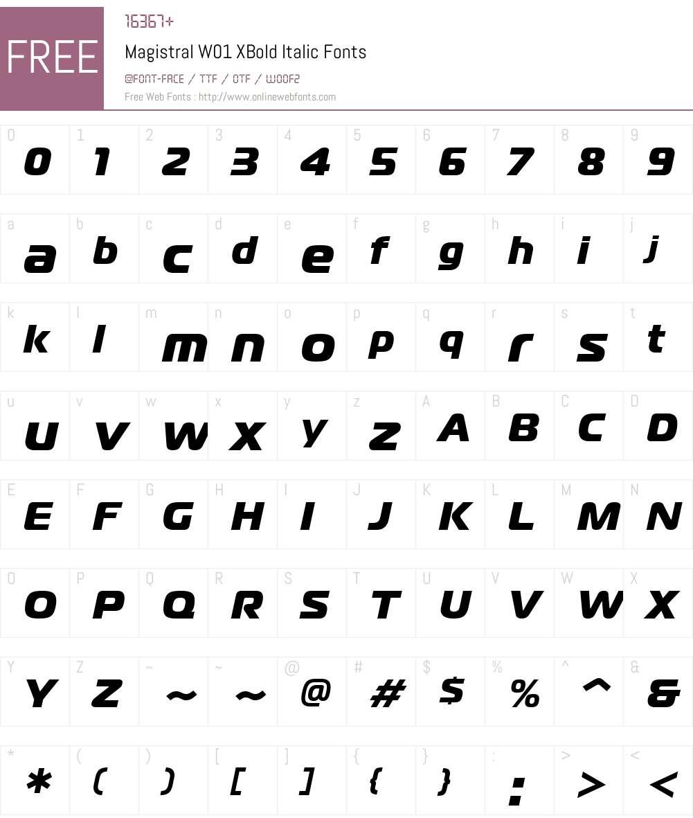 MagistralW01-XBoldItalic Font Screenshots