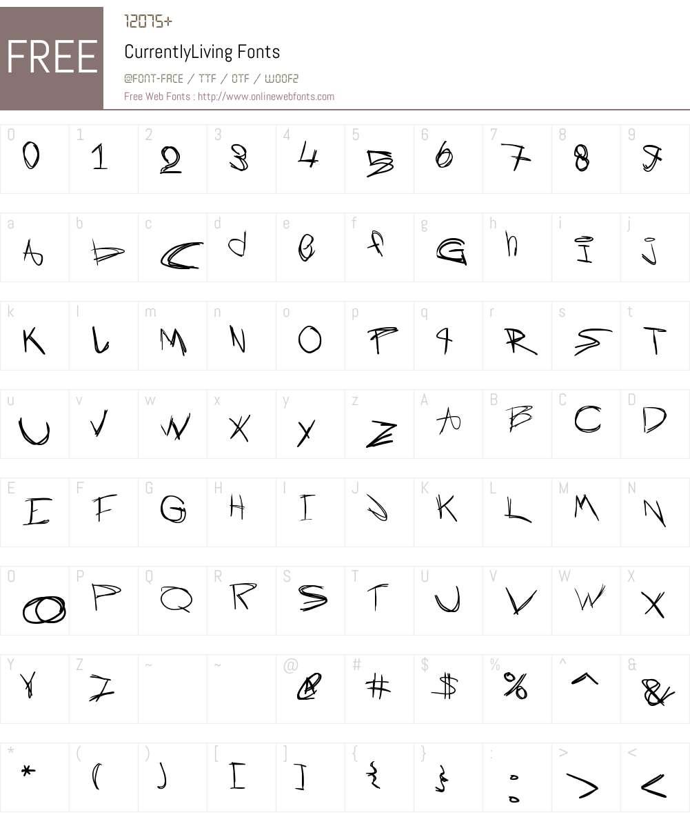 CurrentlyLiving Font Screenshots