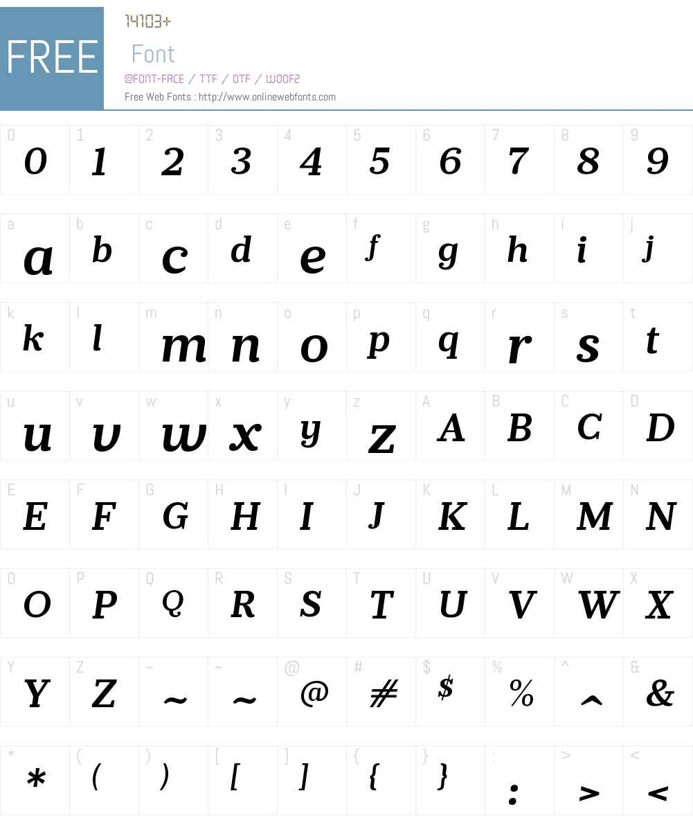 PrumoSlabW00-SemiBoldItalic Font Screenshots