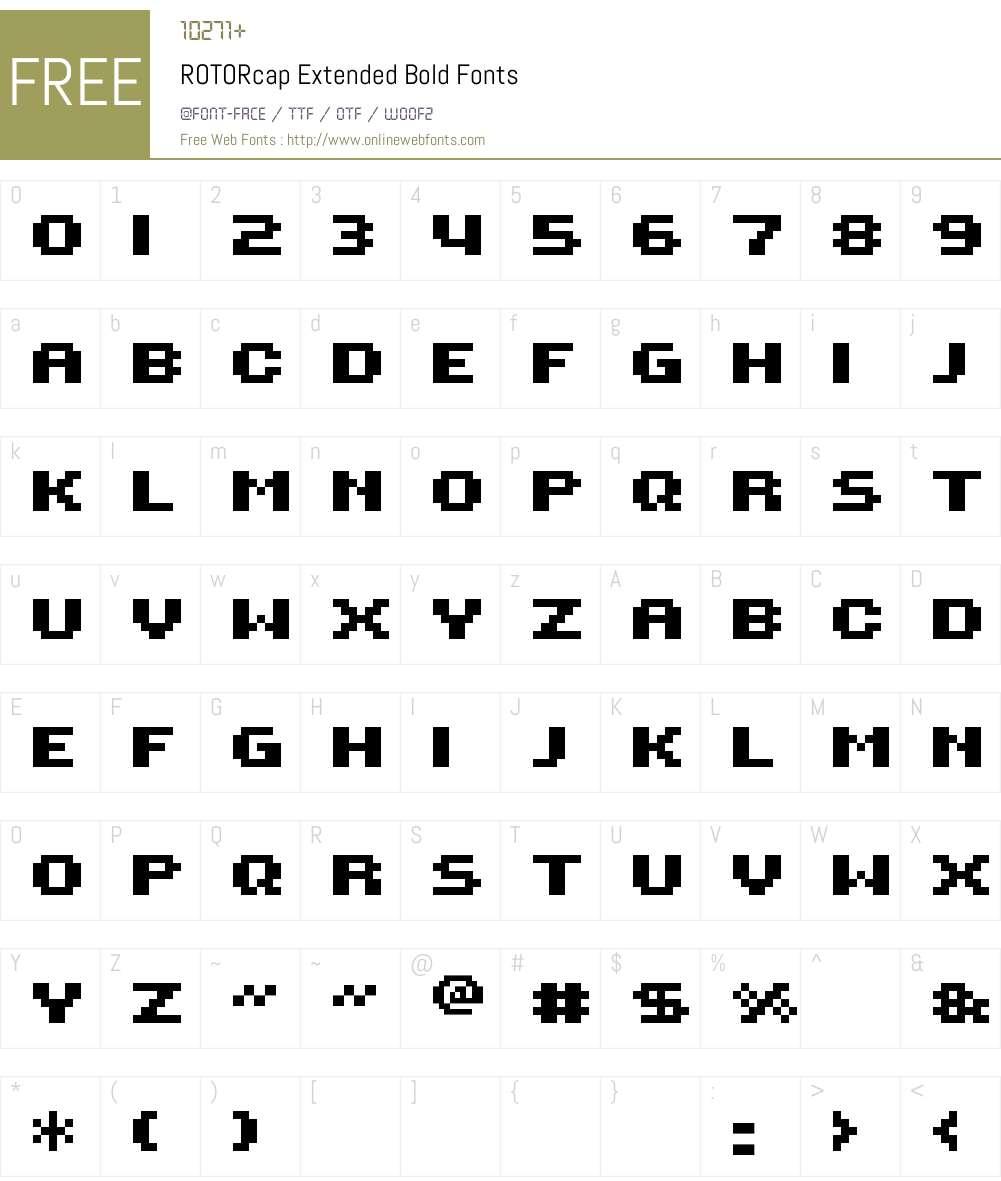 ROTORcap Extended Bold Font Screenshots