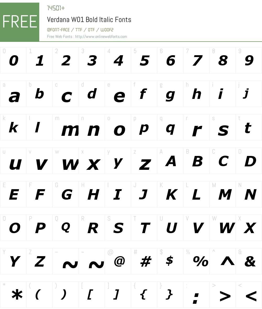 VerdanaW01-BoldItalic Font Screenshots