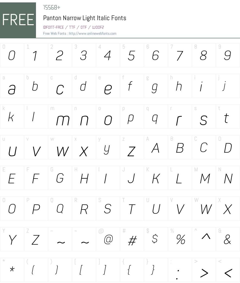 PantonNarrow-LightItalic Font Screenshots