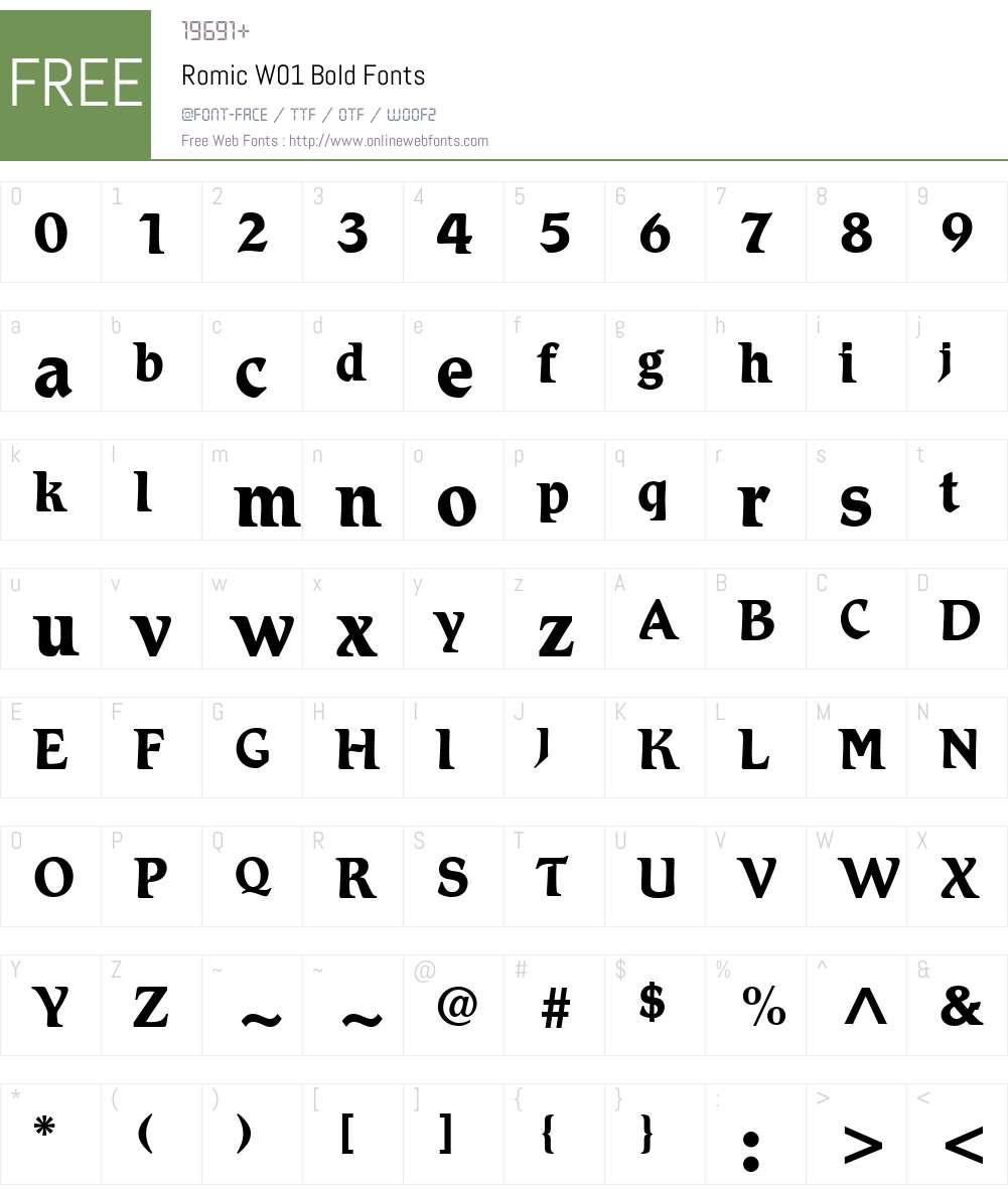 RomicW01-Bold Font Screenshots
