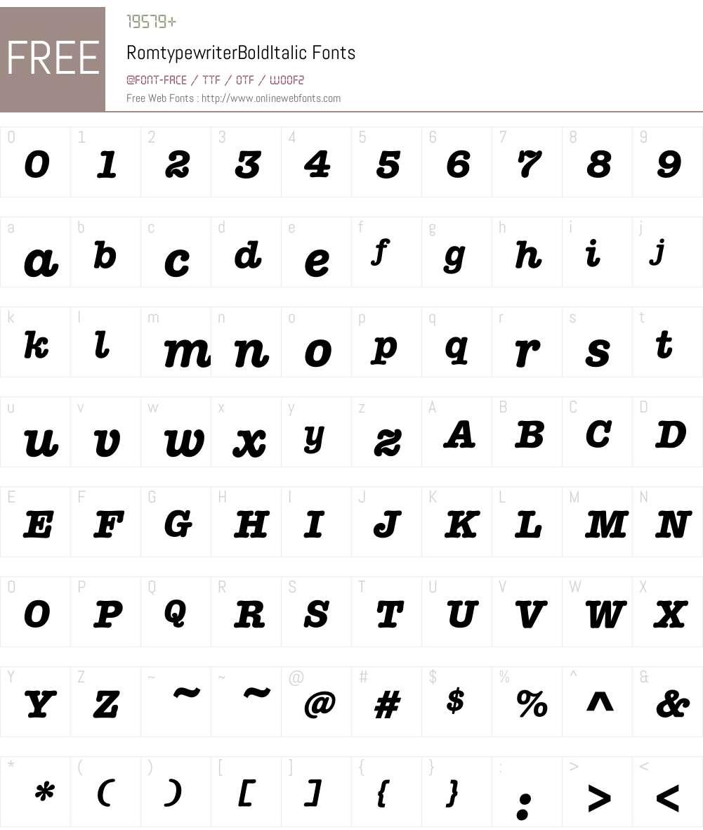 Romtypewriter Font Screenshots