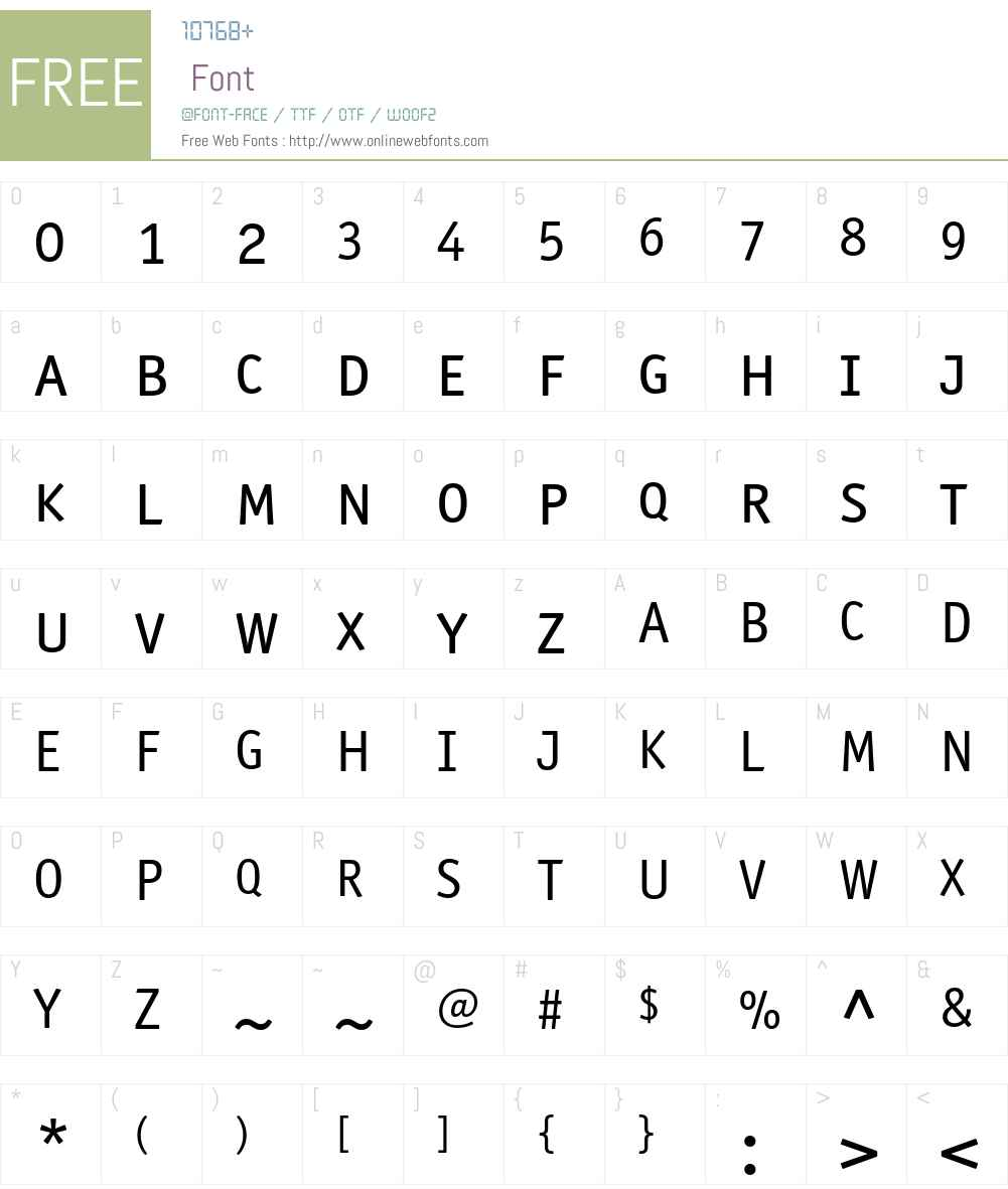 ITCOfficinaSansW10-SCBook Font Screenshots
