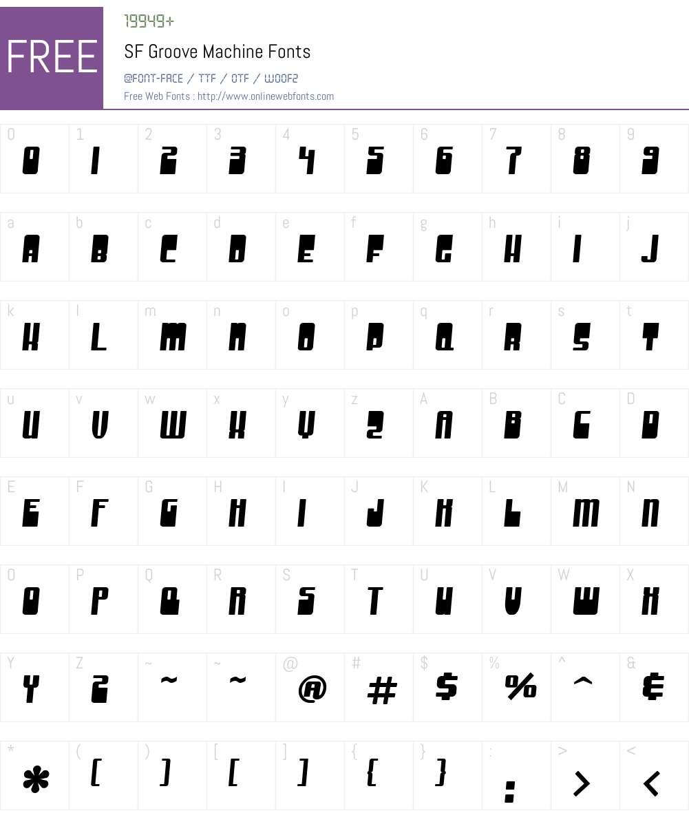 SF Groove Machine Font Screenshots