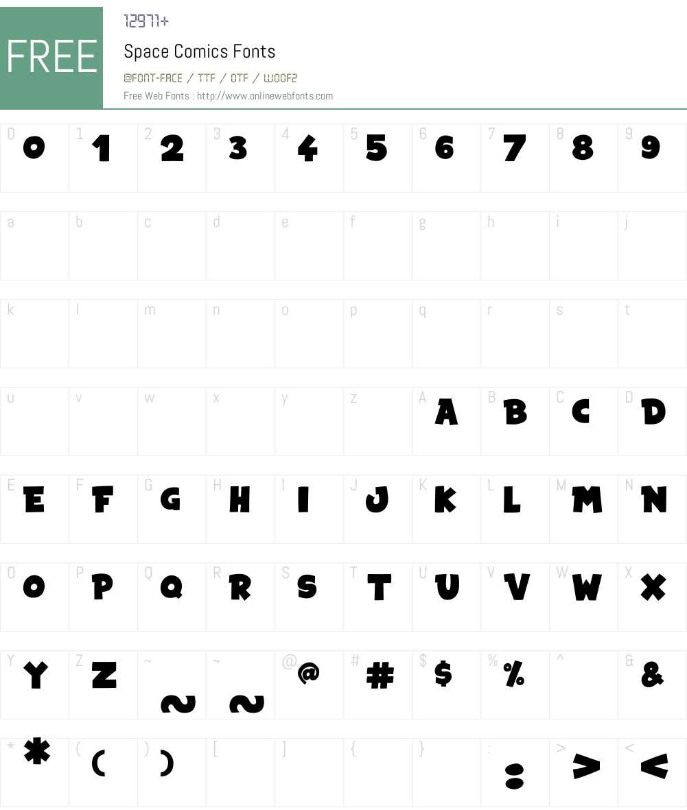 Space Comics Font Screenshots