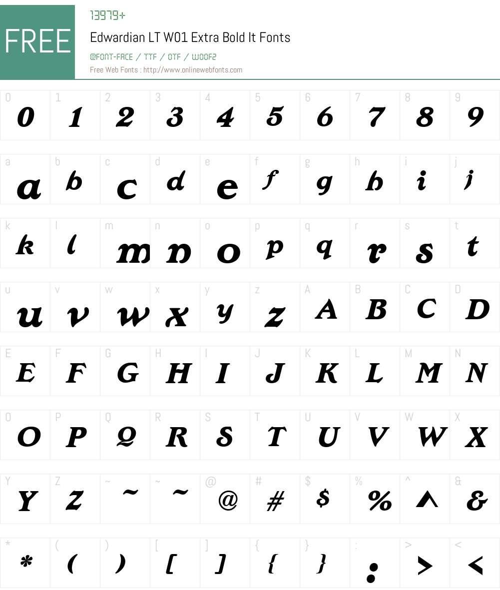 EdwardianLTW01-ExtraBoldIt Font Screenshots