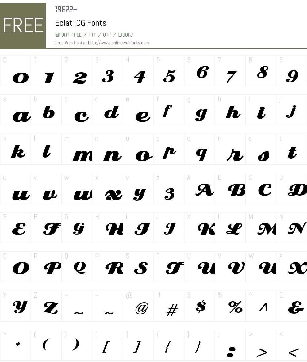 Eclat ICG Font Screenshots
