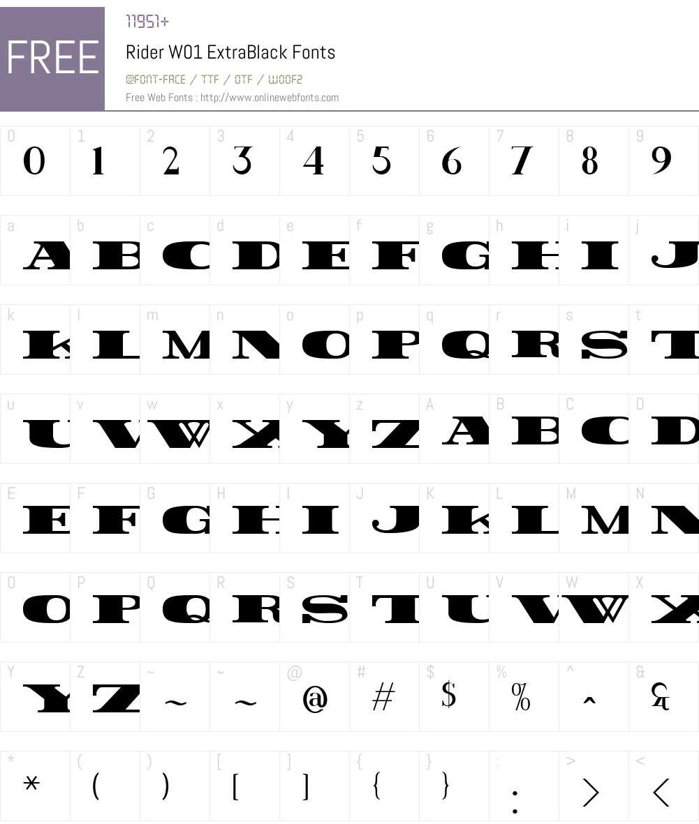 RiderW01-ExtraBlack Font Screenshots