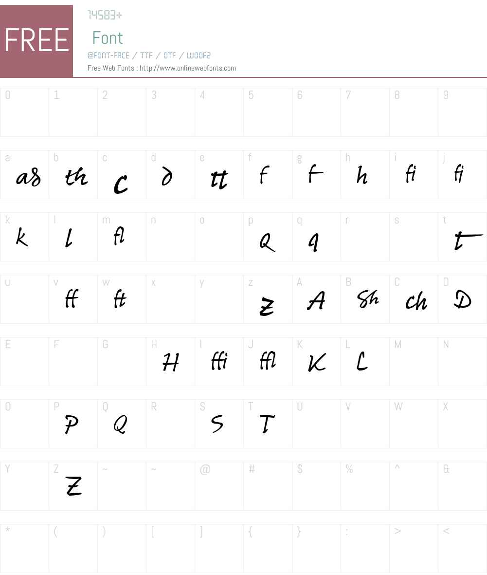 ReinerHandAltW90-Regular Font Screenshots