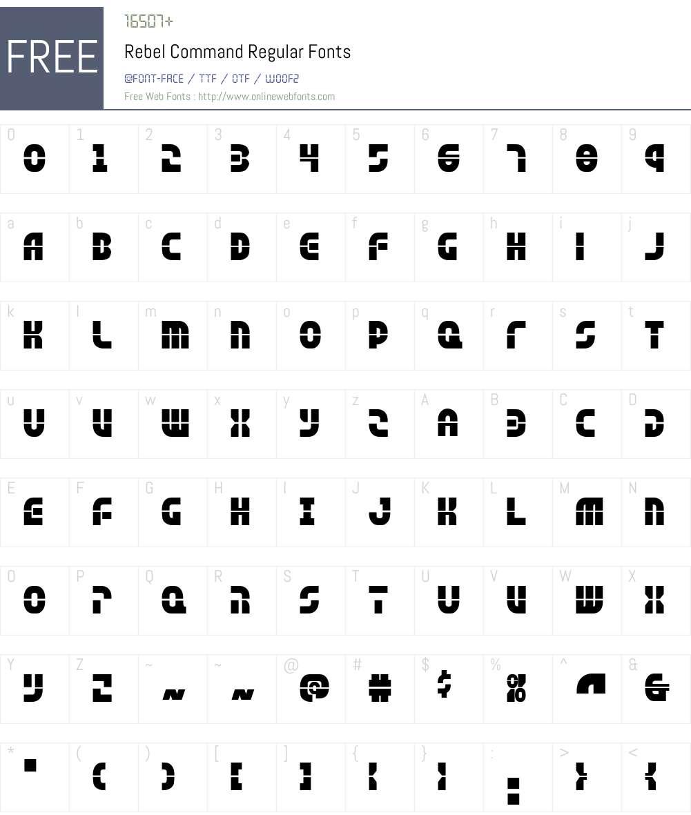 Rebel Command Font Screenshots