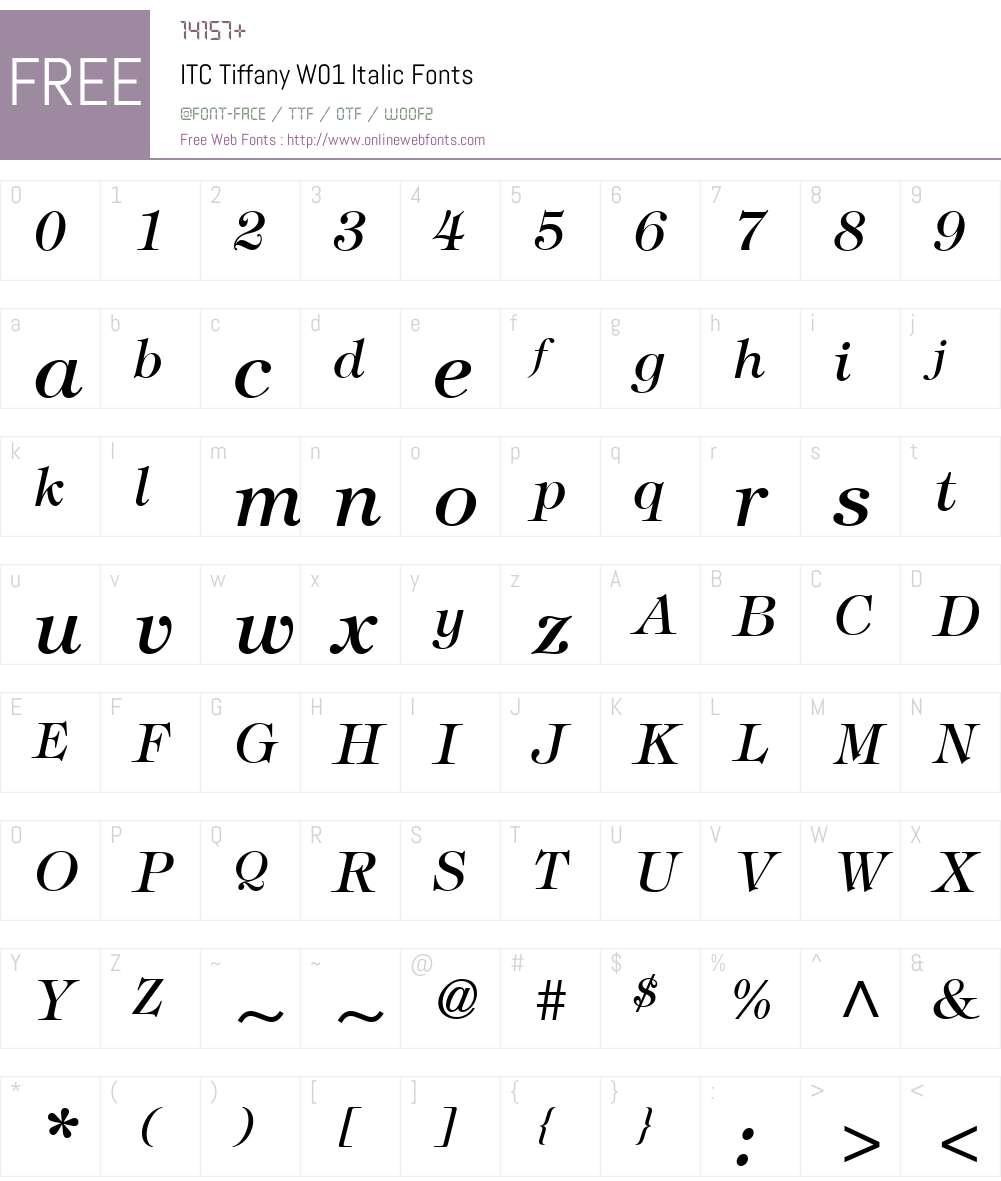 ITCTiffanyW01-Italic Font Screenshots
