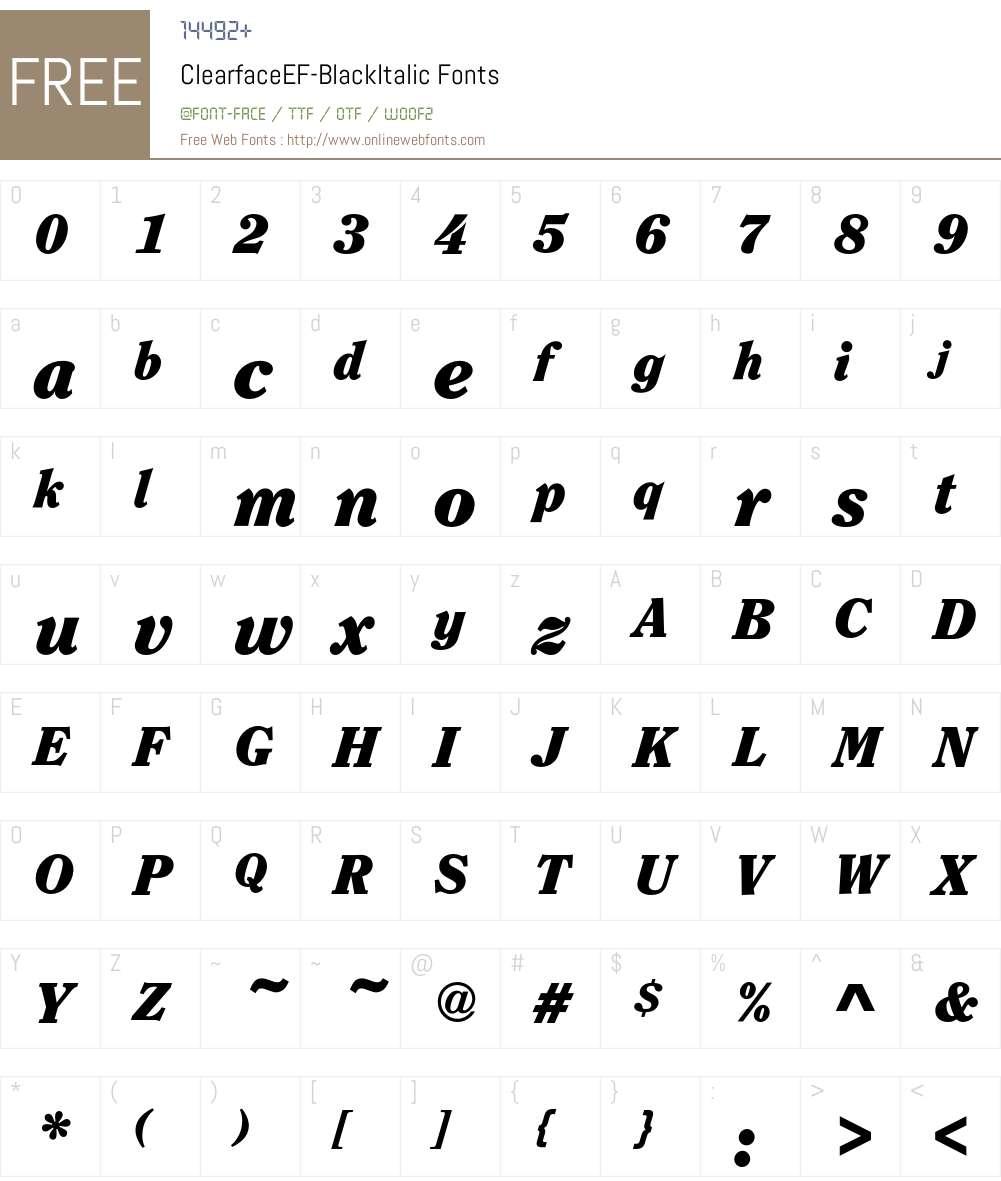 ClearfaceEF-BlackItalic Font Screenshots