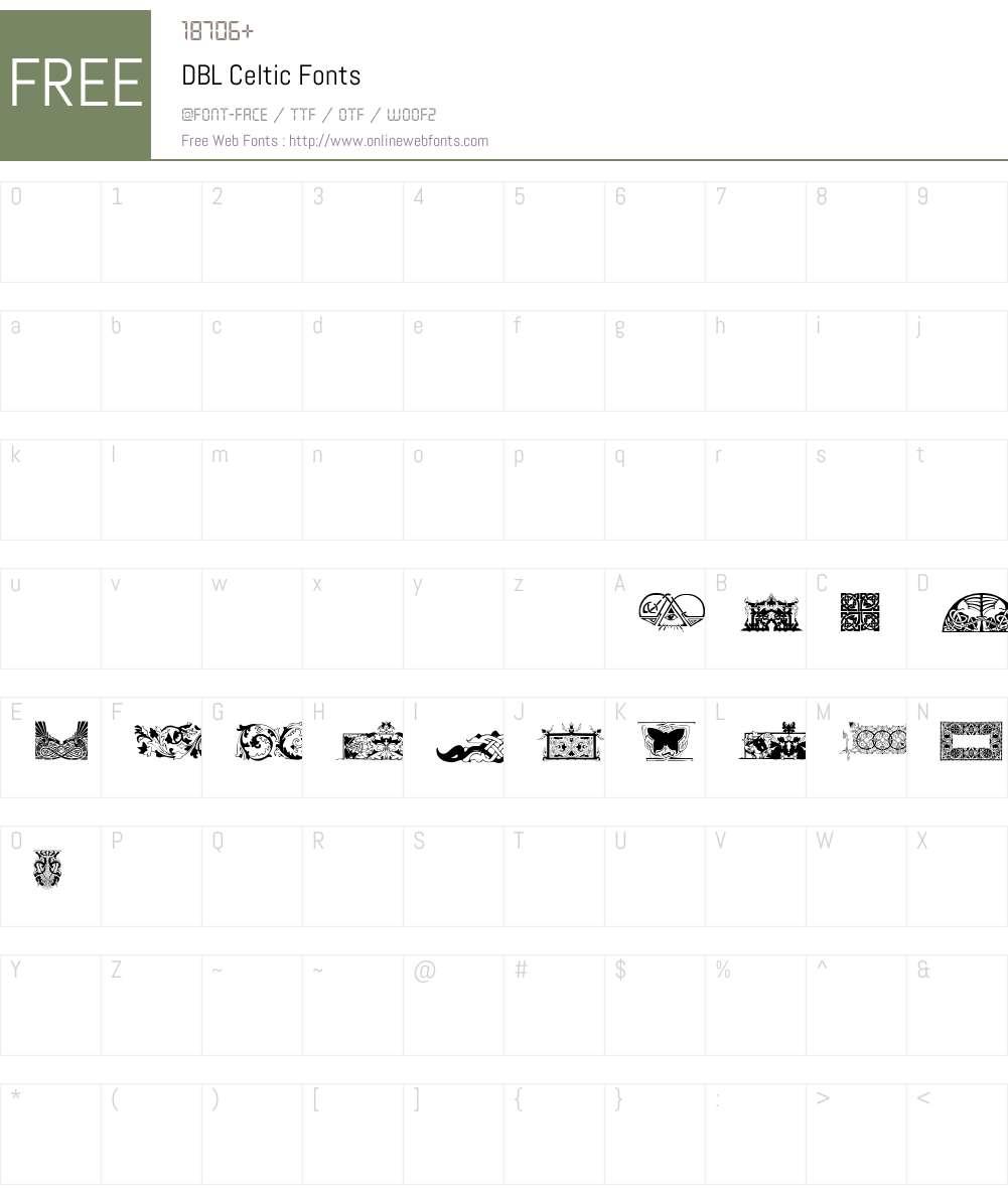 DBL Celtic Font Screenshots