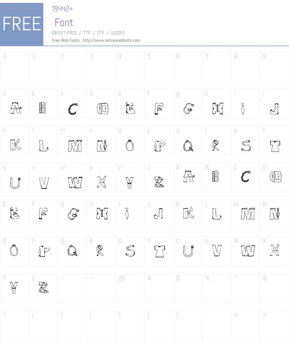 SketchClothes Font Screenshots