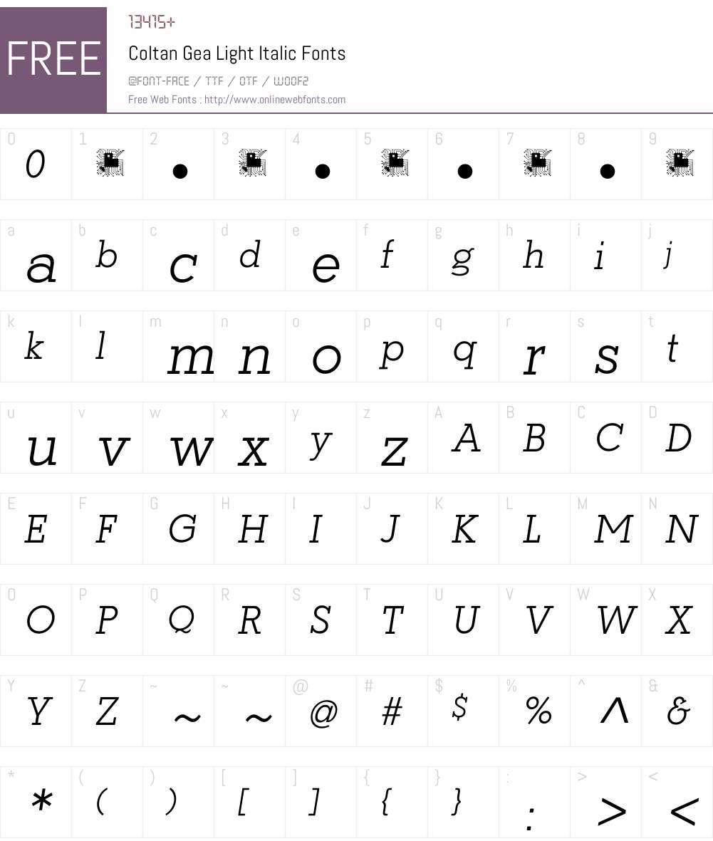 Coltan Gea Light Font Screenshots
