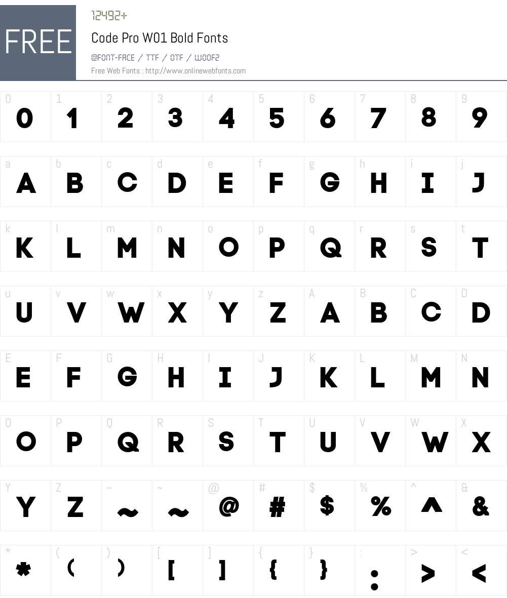 CodeProW01-Bold Font Screenshots
