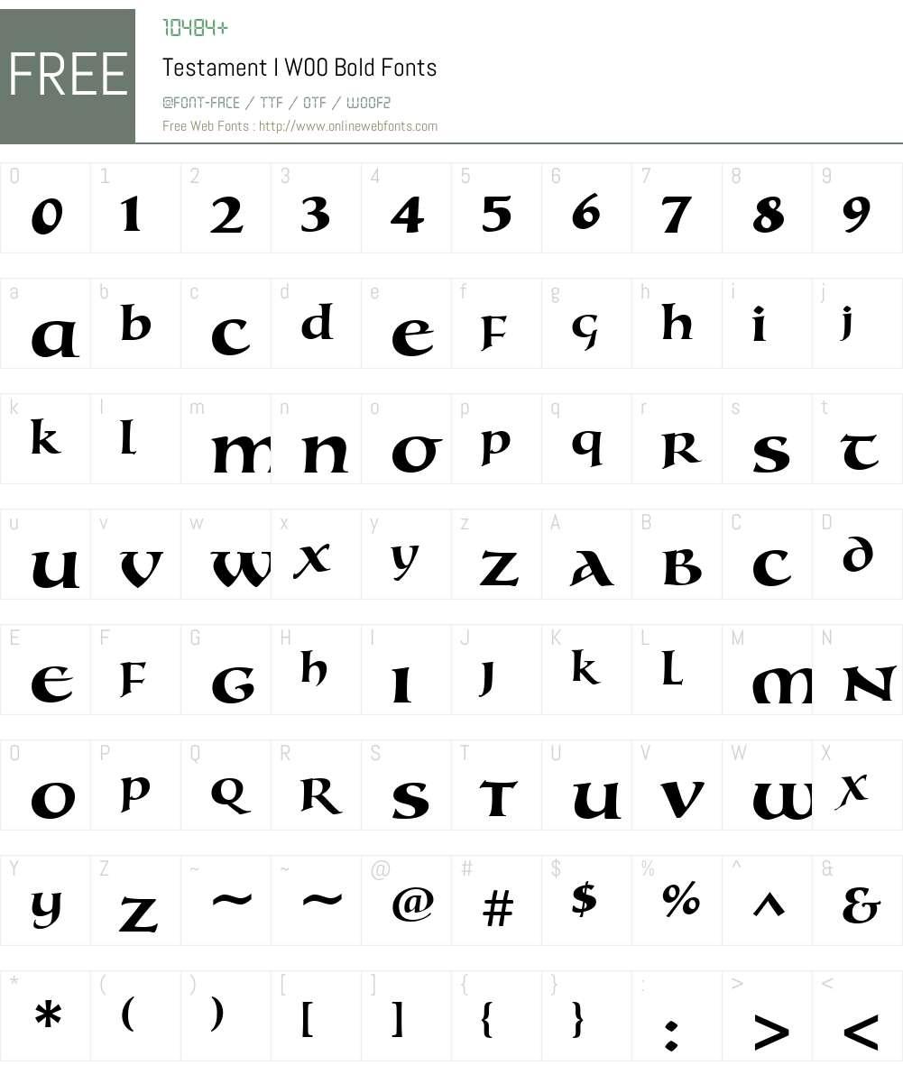 TestamentIW00-Bold Font Screenshots