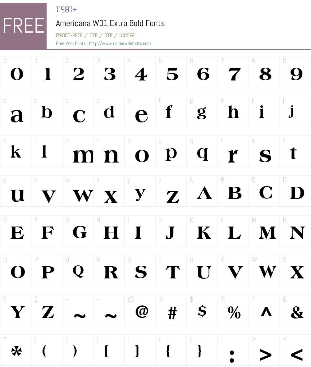 AmericanaW01-ExtraBold Font Screenshots
