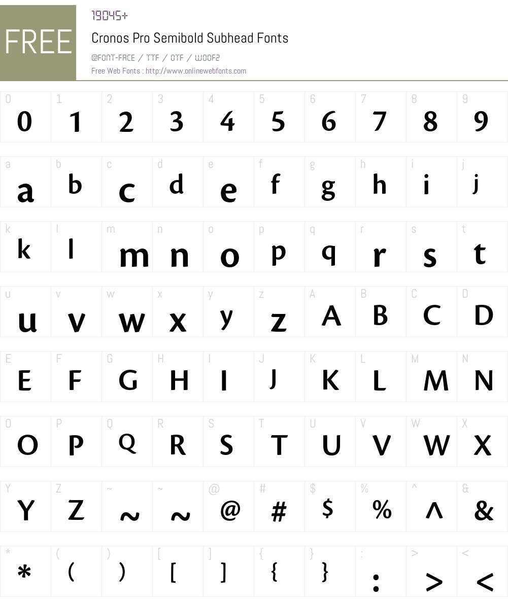 Cronos Pro Font Screenshots