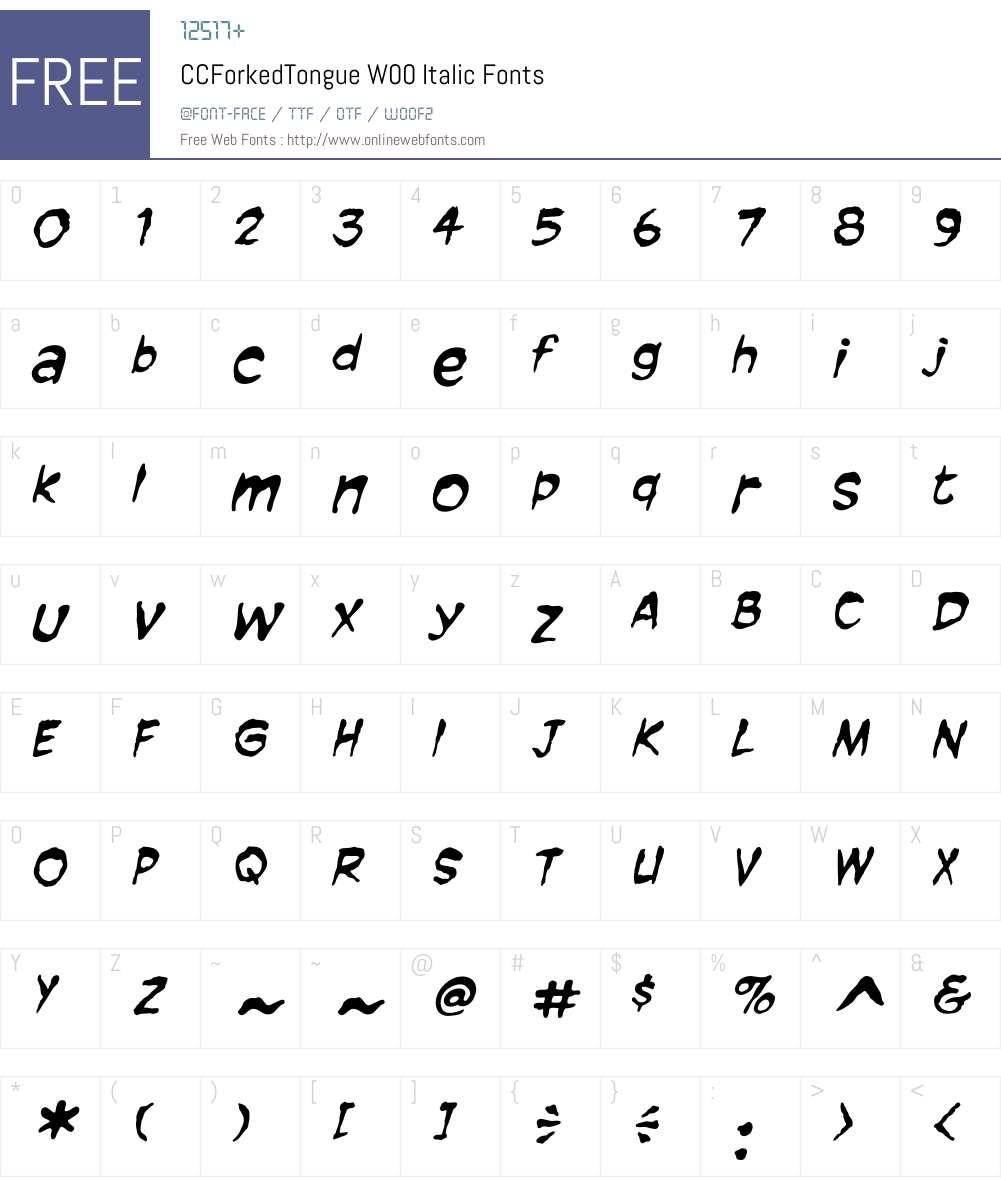 CCForkedTongueW00-Italic Font Screenshots