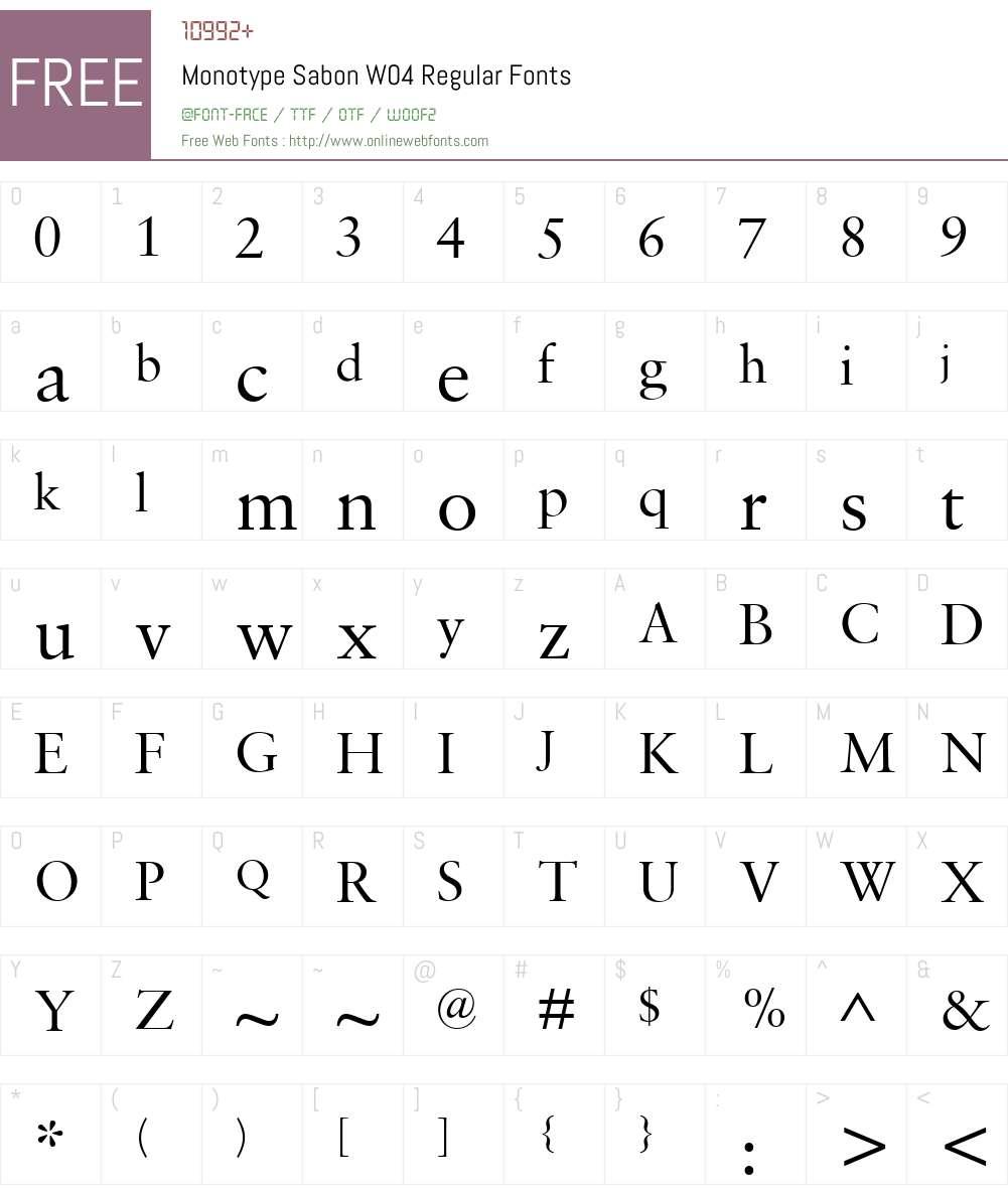 Monotype Sabon Font Screenshots