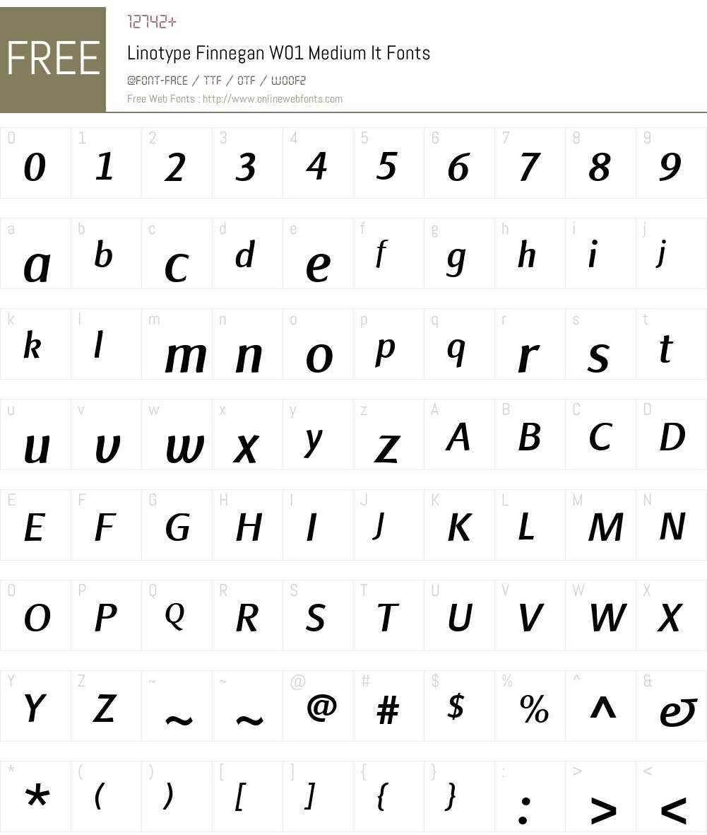 LinotypeFinneganW01-MdIt Font Screenshots