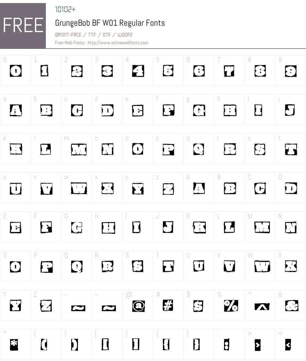 GrungeBobBFW01-Regular Font Screenshots